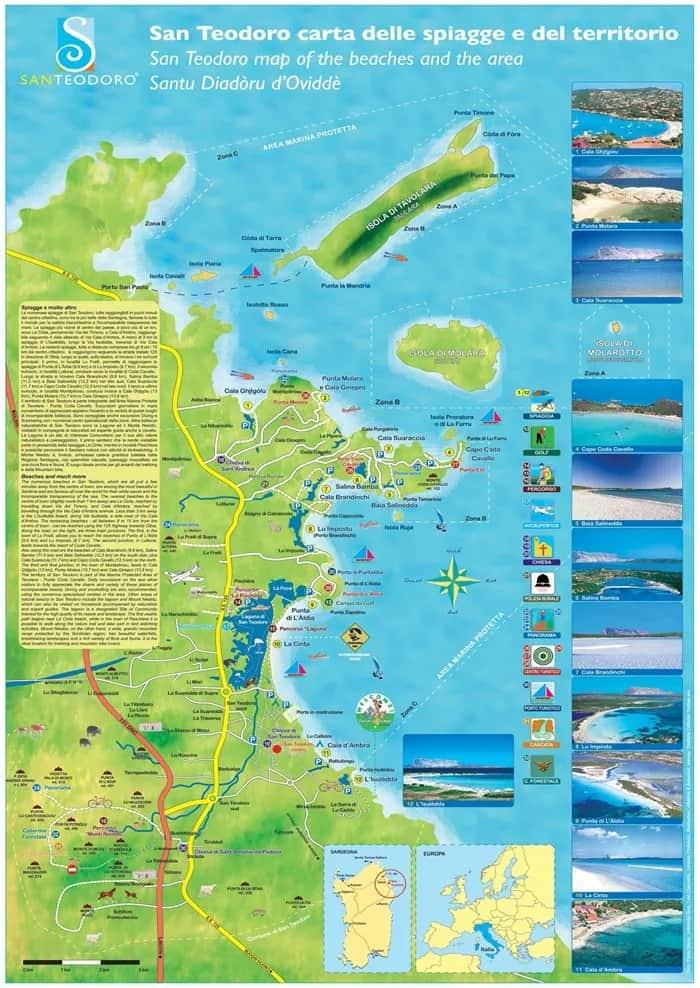Cartina delle spiagge di San Teodoro
